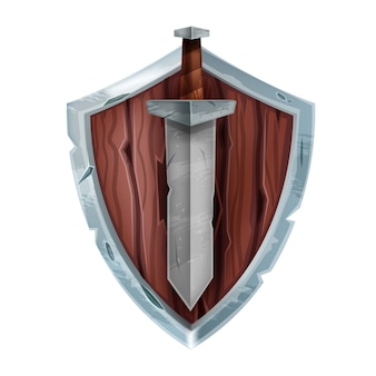 Wooden game shield badge vector medieval knight battle armor iron sword isolated on white