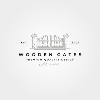 Wooden gate line logo vector symbol illustration design, minimal logo design
