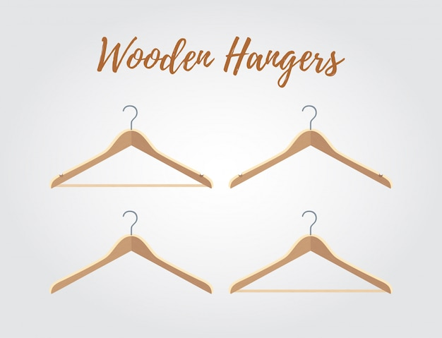 木製ハンガーコレクション、さまざまなフック