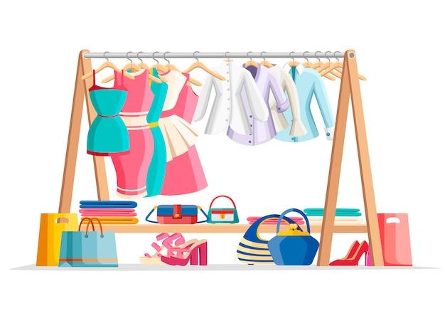 女性の服と床に靴とハンドバッグの木製ハンガーラック。カジュアルな服。毎日の衣装販売コンセプト。白い背景で隔離のフラットスタイルのイラスト。