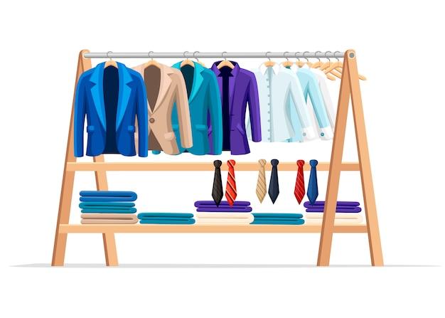 남성 클래식 옷과 넥타이가있는 나무 옷걸이 선반. 공식 스타일 의상. 플랫 스타일 그림 흰색 배경에 고립입니다.