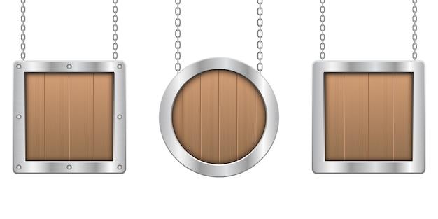 白い背景の上の金属フレームのイラストが木製吊り下げボード