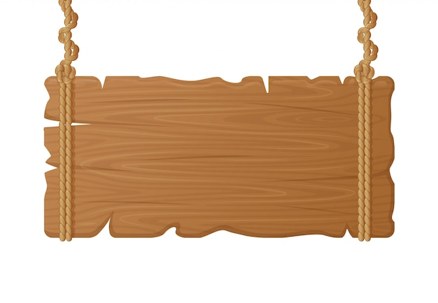 木製吊り下げボード。ロープ、ヴィンテージのブランクの看板、絞首刑の木板の板のイラストに木製の空看板。看板ヴィンテージ板、看板バナー