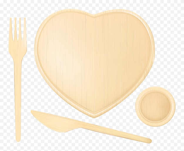 Wooden heart plate with fork, knife and glass
