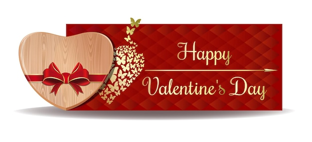 Wooden heart tied with red ribbon on the background of a greeting. happy valentines day design.  banner for valentines day
