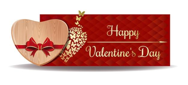 挨拶の背景に赤いリボンで結ばれた木の心。幸せなバレンタインデーのデザイン。バレンタインデーのバナー