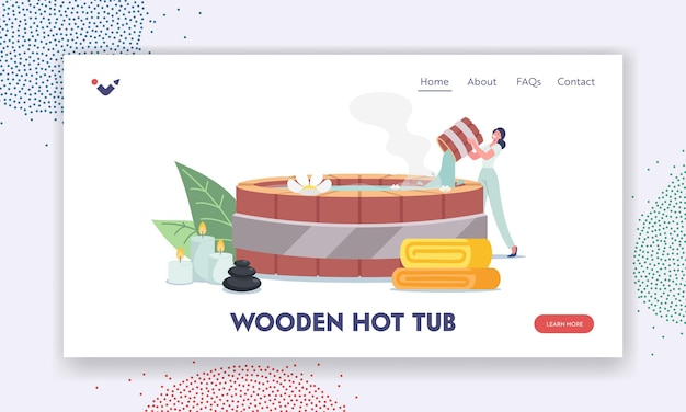 Wooden hot tub landing page template. female character pouring hot water into japanese bath onsen with flowers, stones, candles and towel around, bathtub in spa. cartoon people vector illustration