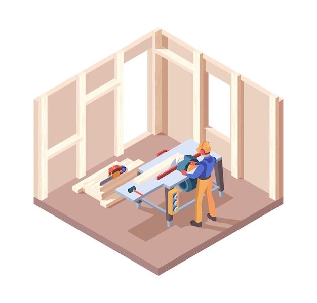 목조 주택 건축업자. 목수 작업자 내부 프레임은 목재 리노베이션 프로세스 판자 구성 벡터 아이소메트릭입니다. 목공 목수, 목재 산업 개발 3d 그림