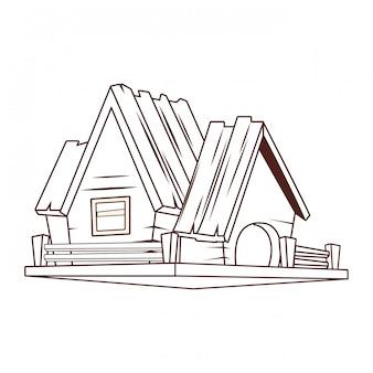 Wooden house cartoon