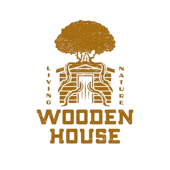 Wooden house grunge design