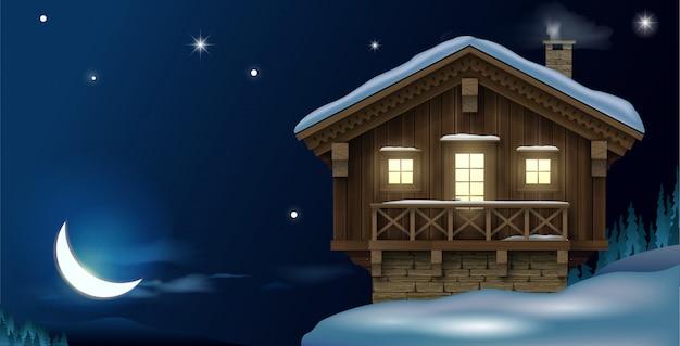 Деревянный дом в горах зимой
