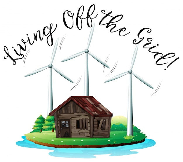 Wooden house on island with windmill