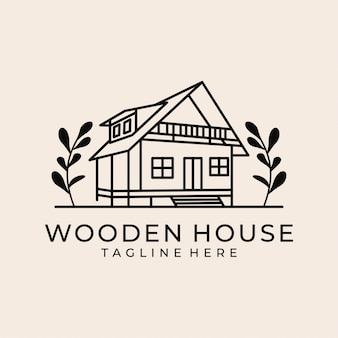 Wooden house line art logo