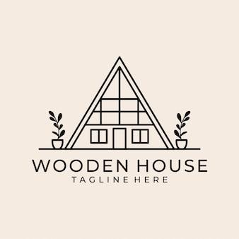Wooden house line art logo