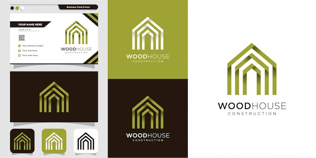 Wooden house logo and business card design template, modern, wood, house, home, construction, building