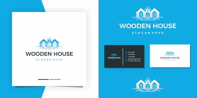 Wooden house logo design premium  with business card design