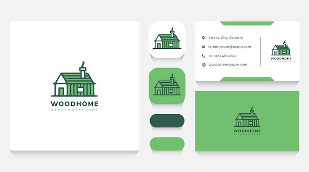 Wooden house logo template and business card