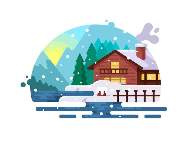 山の湖岸の冬の木造住宅。ベクトルイラスト