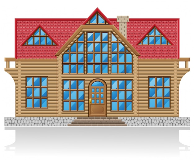 Wooden house vector illustration