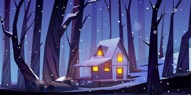 Wooden house in winter forest at night. forester shack with glow windows and white snow on roof.