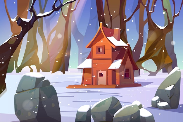Wooden house in winter forest.