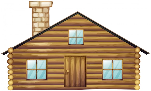 Wooden house with chimney
