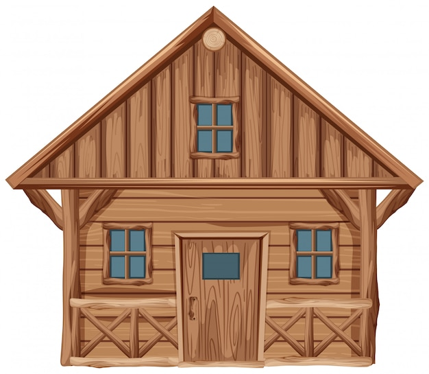 Wooden house with door and windows on white