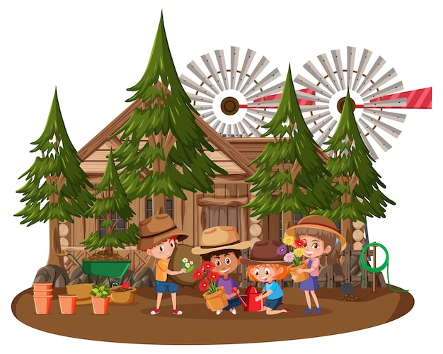 Wooden house with many children on white background