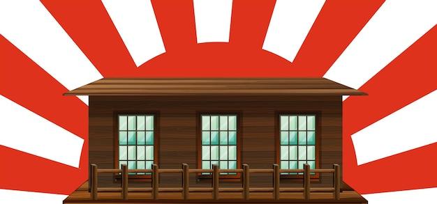 Деревянный дом с солнцем в фоновом режиме