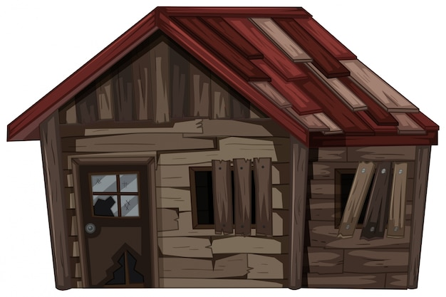 Wooden house with very bad condition