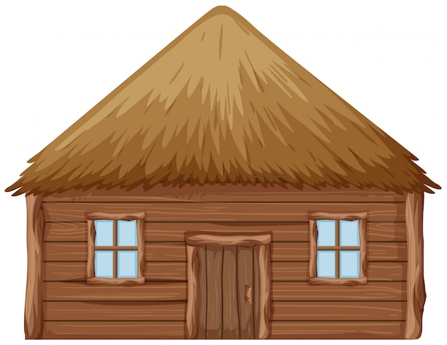 A wooden hut on white background