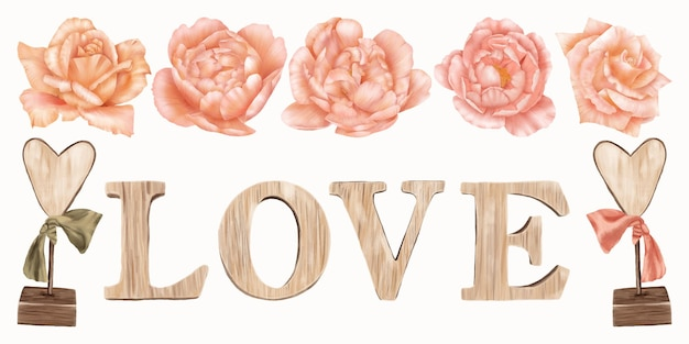 Wooden inscription with pink roses