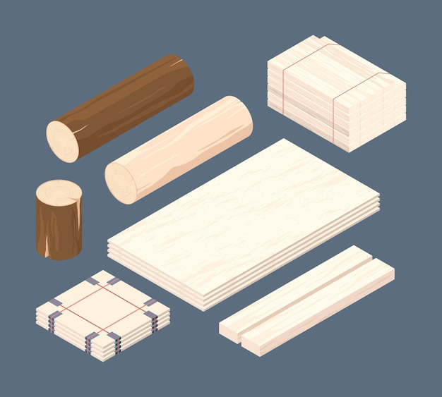 Wooden isometric. set of stacked lumber branches pile logging timbers  illustrations.