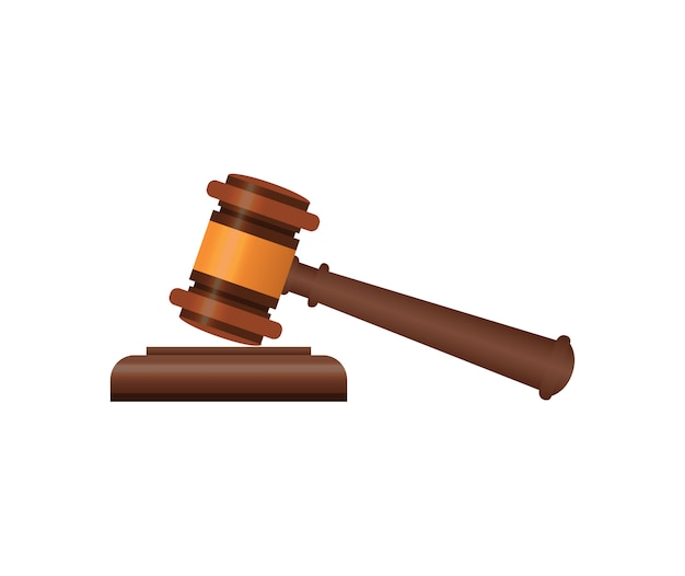 Wooden judge gavel isometric 3d elements