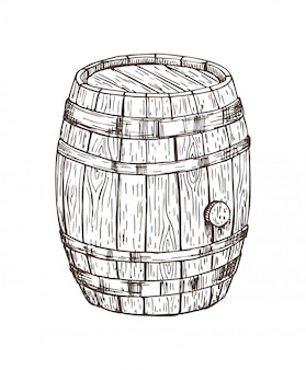 Wooden keg for alcohol drinks isolated