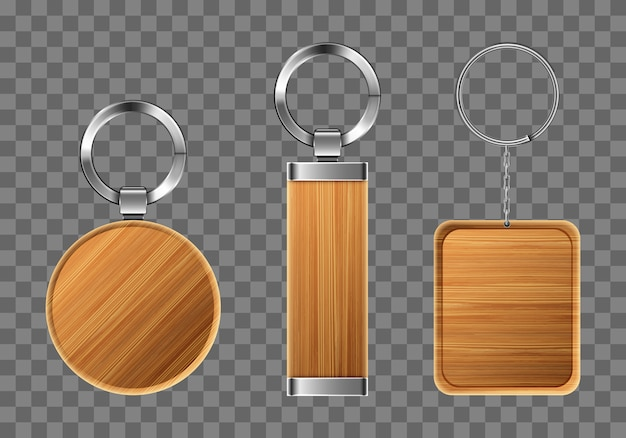 Wooden keychains, keyring holders with metal rings