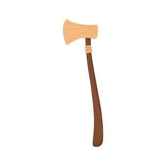 Деревянная детская игрушка. экологический рисунок устройства для детей. древний топор. ретро-мультфильм дизайн игровой инструмент для ребенка. никакого пластика.