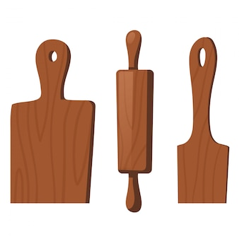 Wooden kitchen tools for cooking food