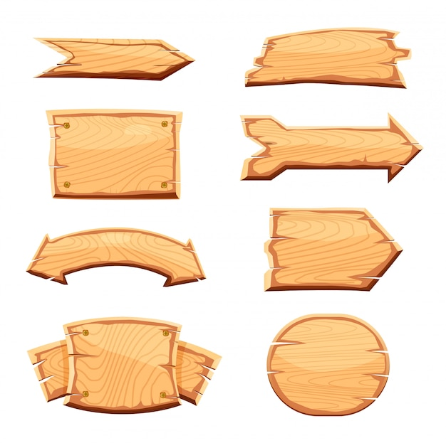 Wooden label isolated  set