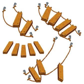 Деревянная лестница и веревка.