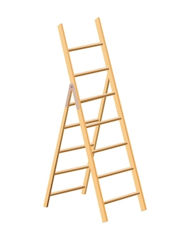 Wooden ladder household tool. step ladder for domestic and construction needs.