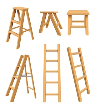 Wooden ladders. interior household equipment standing on tools for home library step ladder for bookshelf vector realistic illustrations. stepladder folding, interior comfortable construction