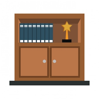 Wooden library with books vector illustration graphic design