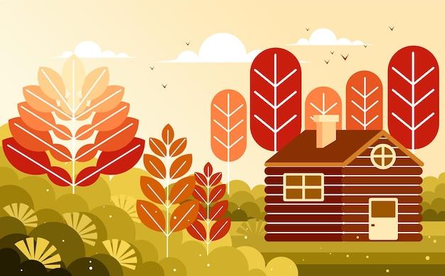 木製の丸太小屋の家