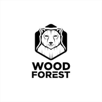 Wooden logo animal forest bear in hexagon frame