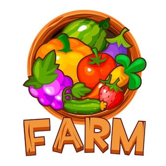Деревянная ферма логотипа с ягодами и овощами для пользовательского интерфейса.