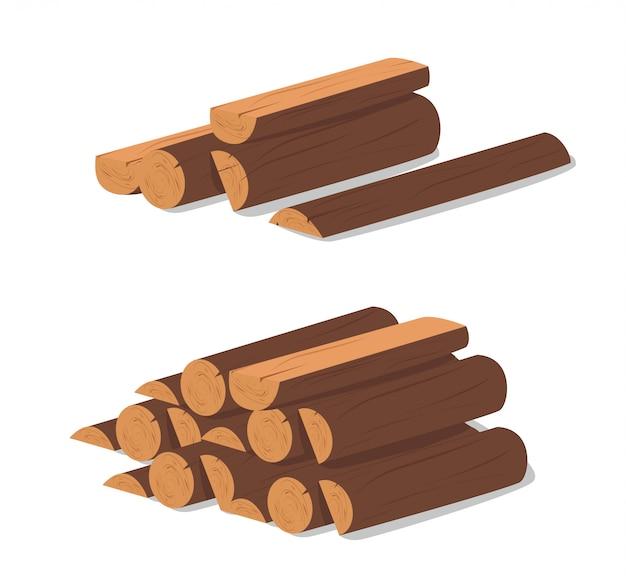 木の丸太。伐採乾燥木材の茶色の樹皮。建設のために購入。