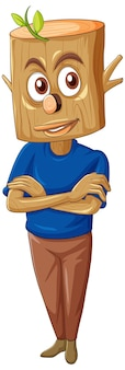 白い背景の上の木製の男の漫画のキャラクター