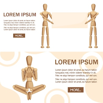 Wooden mannequin stand and show the text