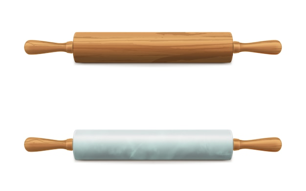 Wooden and marble stone rolling pins vector